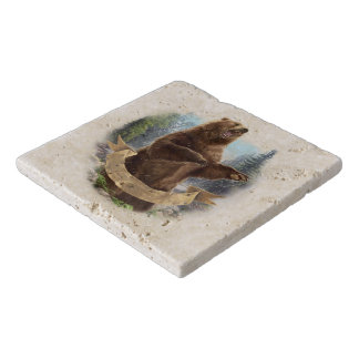 Grizzly Bear Stone Trivets