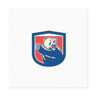 Grizzly Bear Swiping Paw Shield Retro Canvas Prints