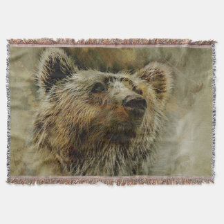 Grizzly Bear Throw Blanket