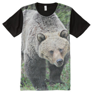 Grizzly Bear Walking In The Woods All-Over Print T-Shirt
