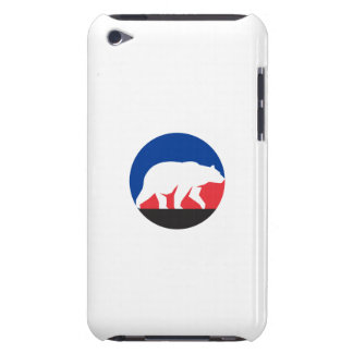 Grizzly Bear Walking Silhouette Circle Retro iPod Case-Mate Cases