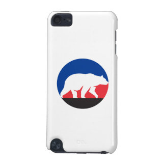 Grizzly Bear Walking Silhouette Circle Retro iPod Touch (5th Generation) Cover