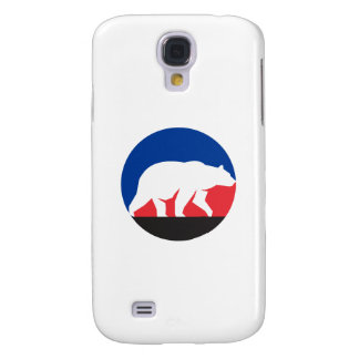 Grizzly Bear Walking Silhouette Circle Retro Samsung Galaxy S4 Cases