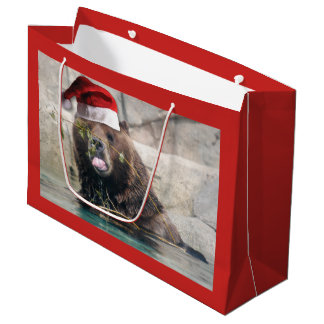 Grizzly Bear Wearing a Santa Claus Hat Large Gift Bag