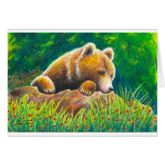 Grizzly Bear wildlife art Card