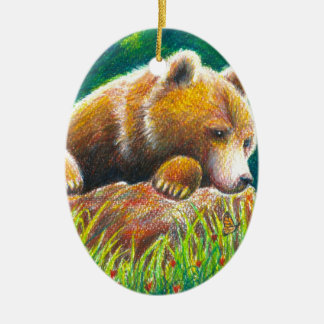 Grizzly Bear wildlife art Ceramic Ornament