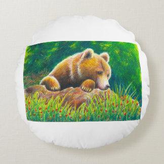 Grizzly Bear wildlife art Round Cushion
