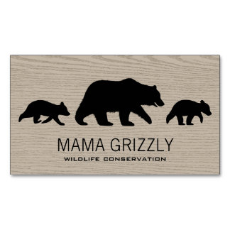 Grizzly Bear with Cubs Silhouettes Magnetic Business Card
