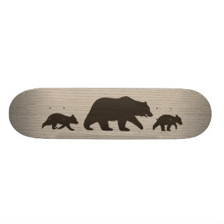 Grizzly Bear with Cubs Silhouettes Skate Board Deck