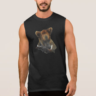 Grizzly bear with fish on black sleeveless T shirt