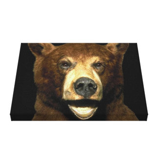 Grizzly Brown Bear Art 3D Wrapped Canvas Stretched Canvas Print