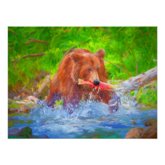 "Grizzly Delights 24"" x 18"" on Archival Paper Poster"