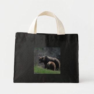 Grizzly Sow and Cub Mini Tote Bag