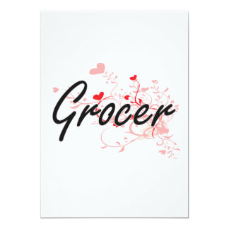 Grocer Artistic Job Design with Hearts 13 Cm X 18 Cm Invitation Card