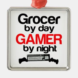 Grocer by Day Gamer by Night Metal Ornament