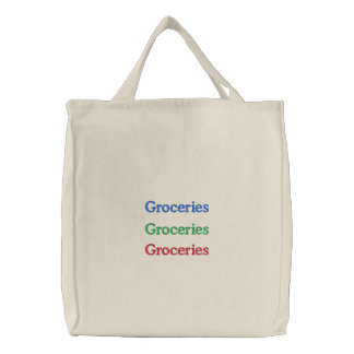 Groceries Groceries Groceries Embroidered Tote Bags