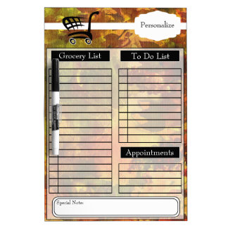 Grocery and To Do List and More - Fall Colors Dry Erase White Board