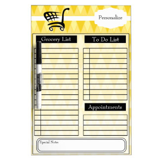 Grocery and To Do List and More - Yellow Dry Erase Board