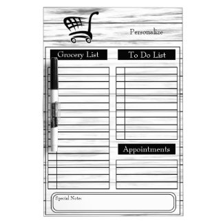 Grocery and To Do List - White Wood Dry Erase Board