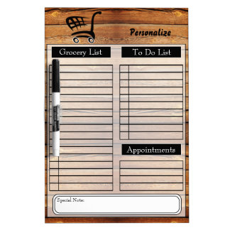 Grocery and To Do List - Wood Dry Erase Board