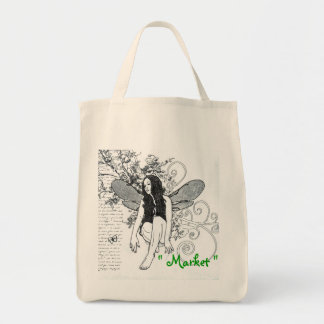 "Grocery Bag ""Organic Fairy Scroll "" Bag"