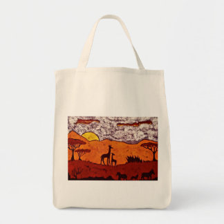 Grocery Bag with African Landscape