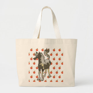 Grocery shopper with horse and apples large tote bag