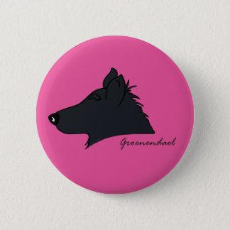 Groenendael head silhouette 6 cm round badge