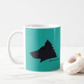 Groenendael head silhouette coffee mug