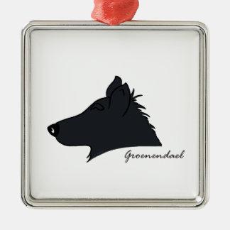 Groenendael head silhouette metal ornament