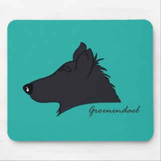 Groenendael head silhouette mouse pad