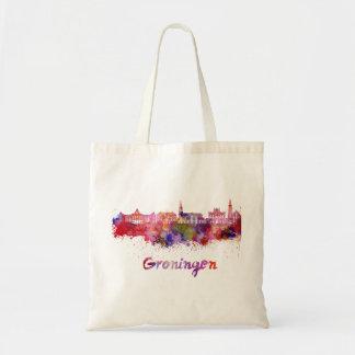 Groningen skyline in watercolor tote bag