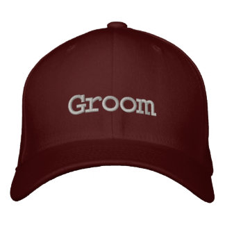 Groom baseball cap in maroon with dark gray font.