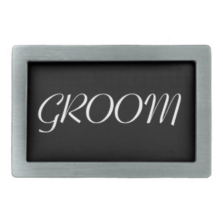 Groom Belt Buckle - Black and White