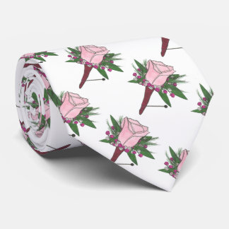 Groom Best Man Wedding Rose Boutonniere Tie