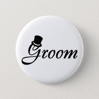 Groom (Blk Top Hat) 6 Cm Round Badge