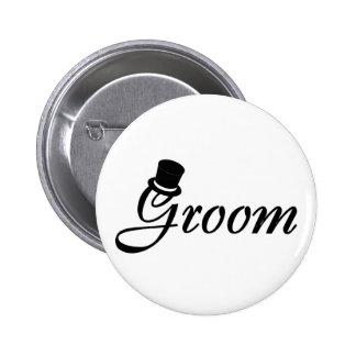Groom (Blk Top Hat) 6 Cm Round Badge
