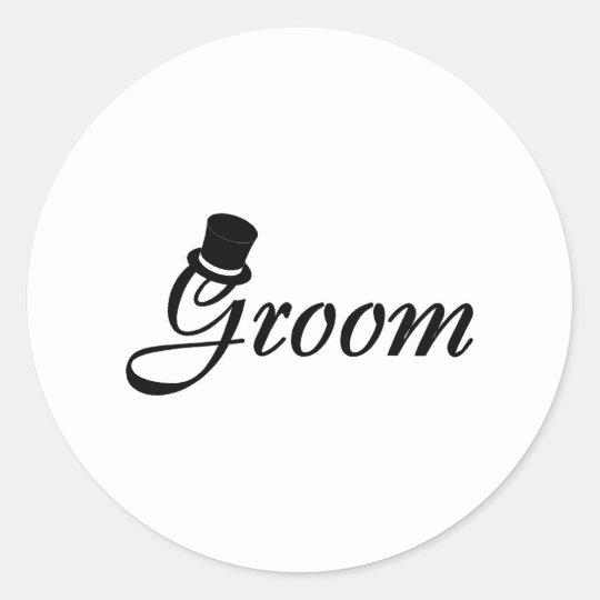 Groom (Blk Top Hat) Round Sticker