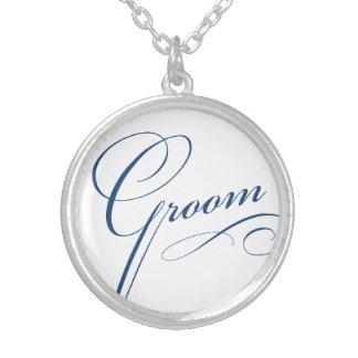 Groom blue elegant typography script round pendant necklace