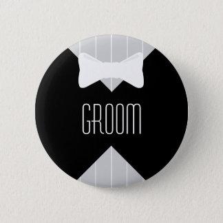 Groom Bowtie & Stripes 6 Cm Round Badge