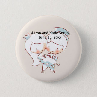 Groom Carrying the Bride Wedding Date Button