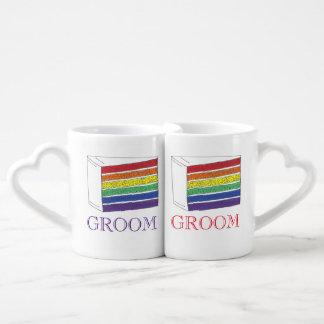 Groom Couple Gay Pride Rainbow Wedding Cake Slice Coffee Mug Set