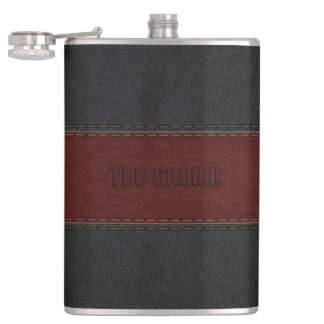 Groom Masculine Red & Black Leather Texture Hip Flask