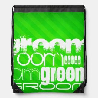 Groom; Neon Green Stripes Drawstring Bag