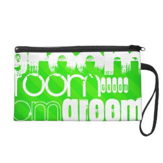 Groom; Neon Green Stripes Wristlet Purse