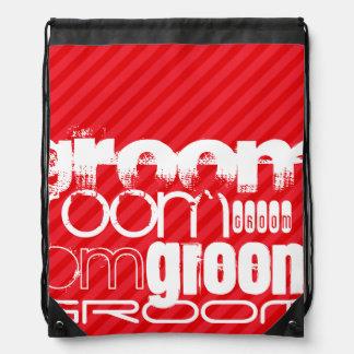 Groom; Scarlet Red Stripes Drawstring Backpacks