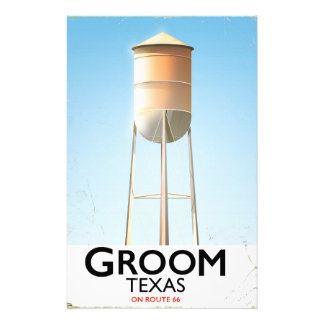 Groom Texas Route 66 Americana travel print Stationery