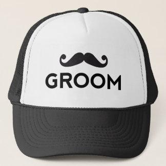 Groom text art with moustache trucker hat