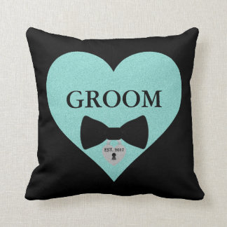 Groom to Be Party Teal Blue Heart Throw Pillow