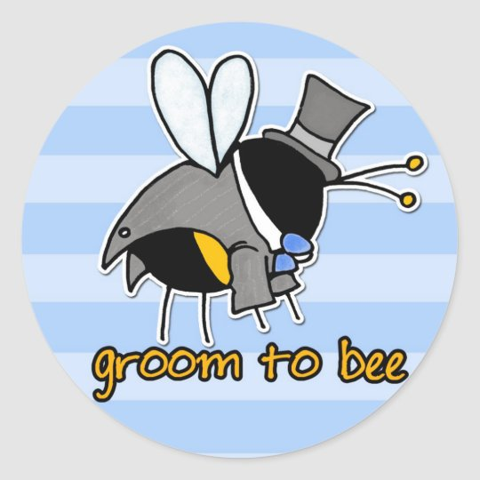 groom to bee round sticker